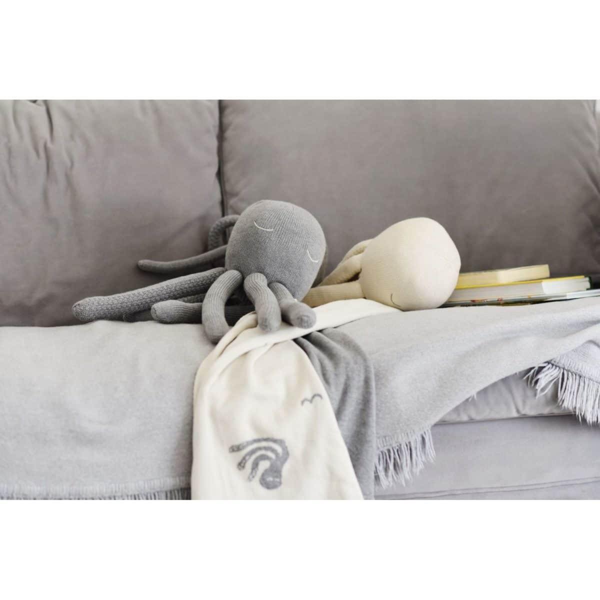 Decke, BioBaumwolle, Octopus grey & cream