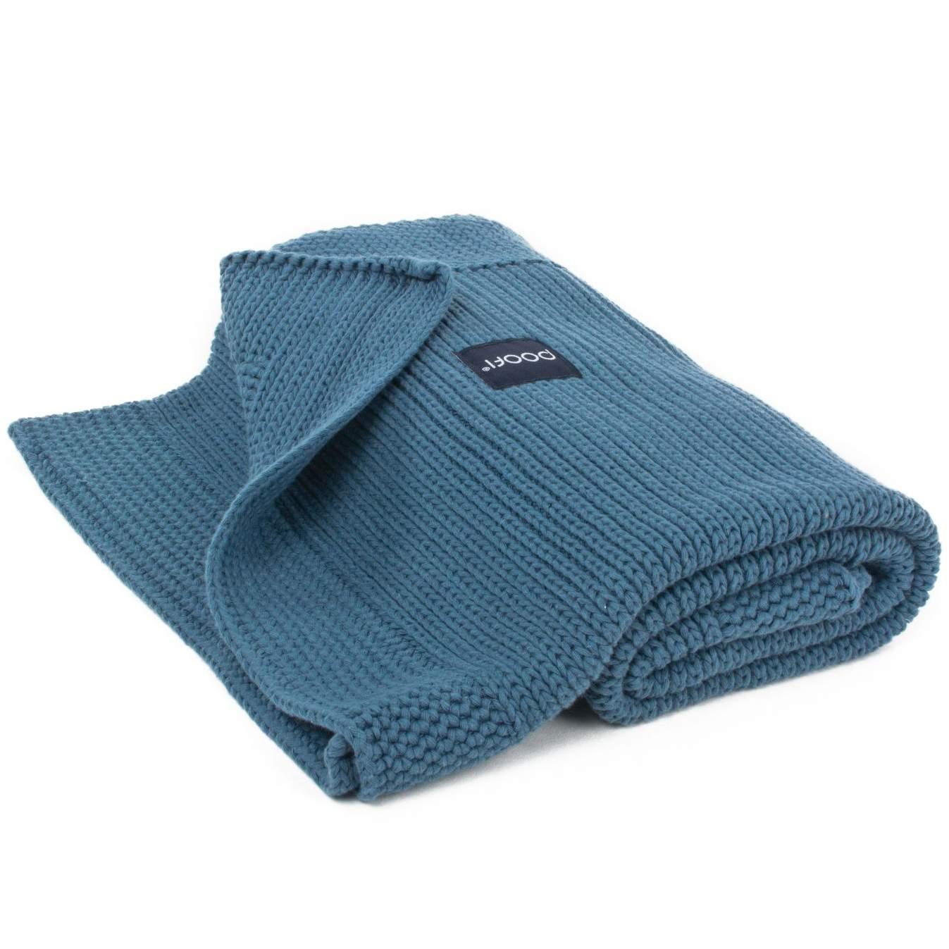 Gestrickte Decke, BioBaumwolle, denim blue