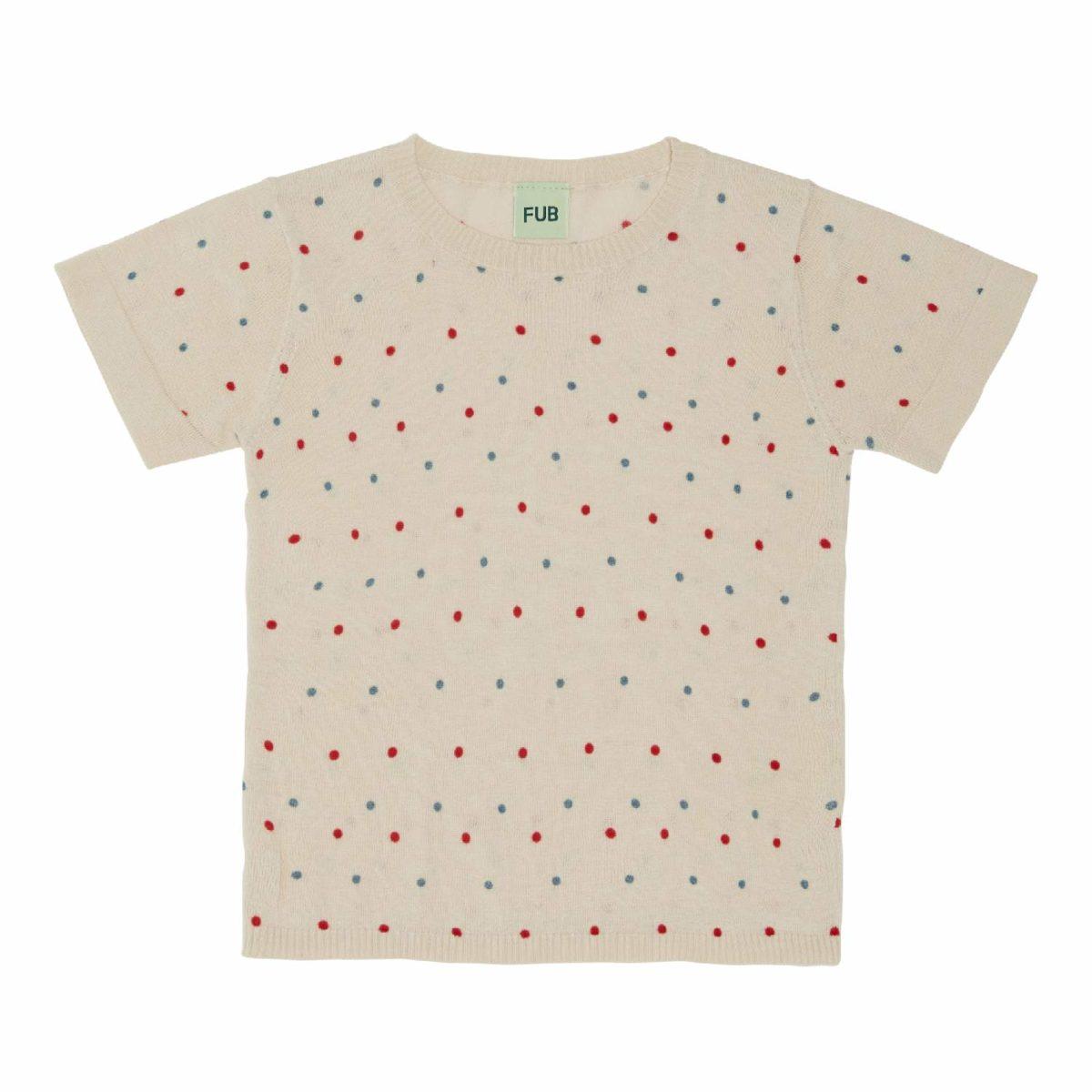 T-Shirt dots, ecru/red/blue