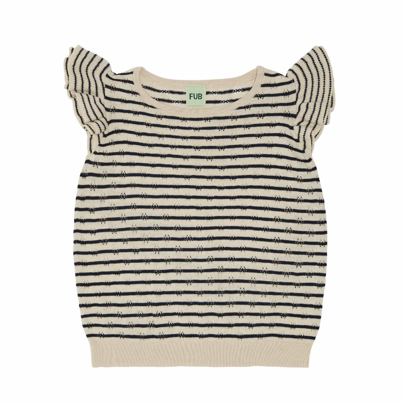 T-Shirt, ecru/navy gestreift