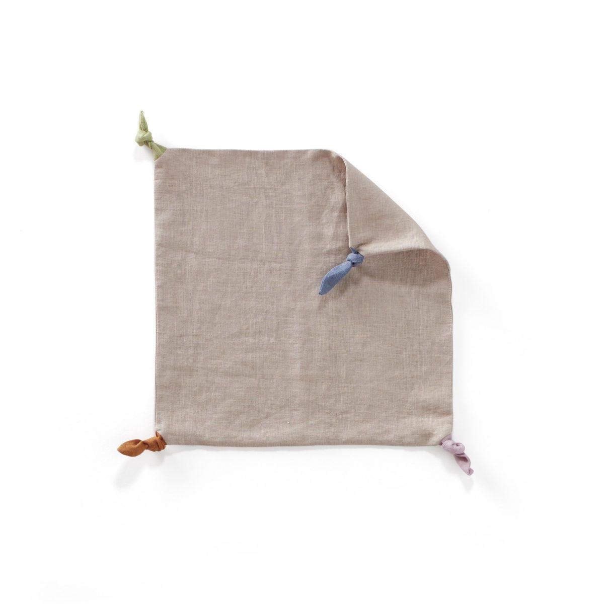 Kuscheltuch mit Knoten 35x35 cm natur