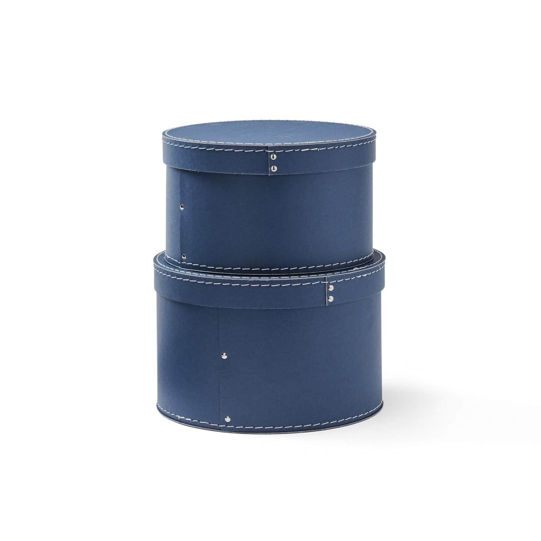 Pappboxen rund 2er-Set Ø23/25 cm blau