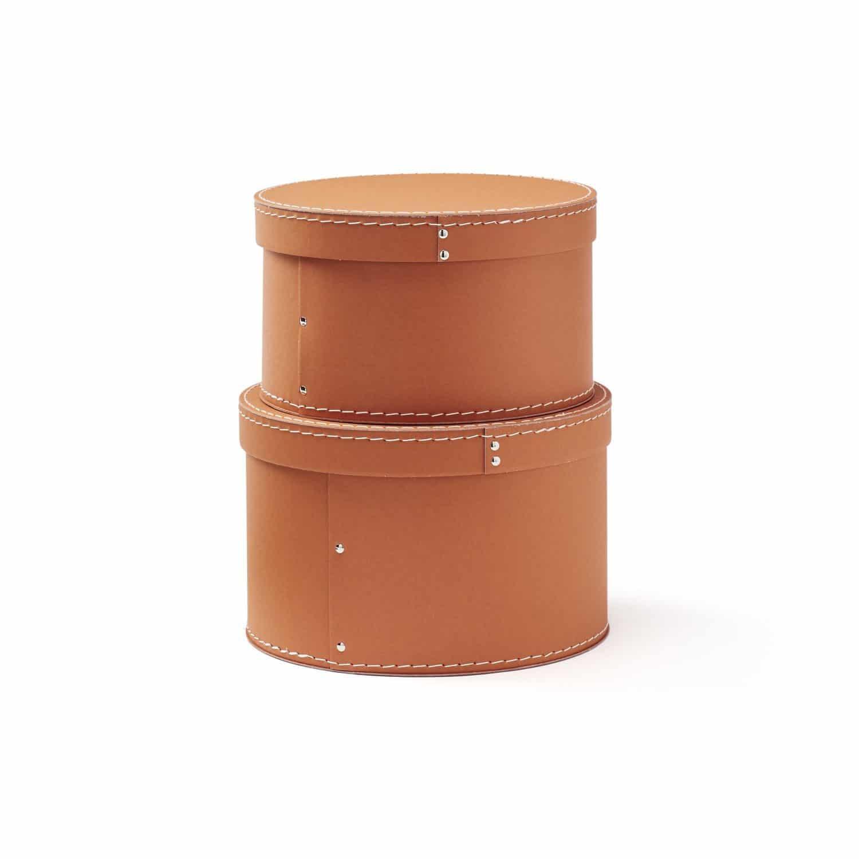 Pappboxen rund 2er-Set Ø23/25 cm braun