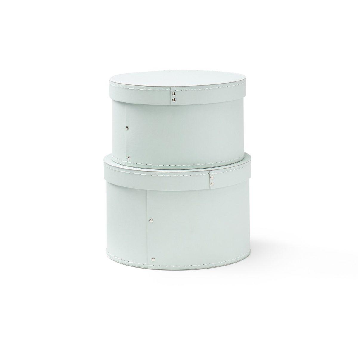 Pappboxen rund 2er-Set Ø23/25 cm hellgün