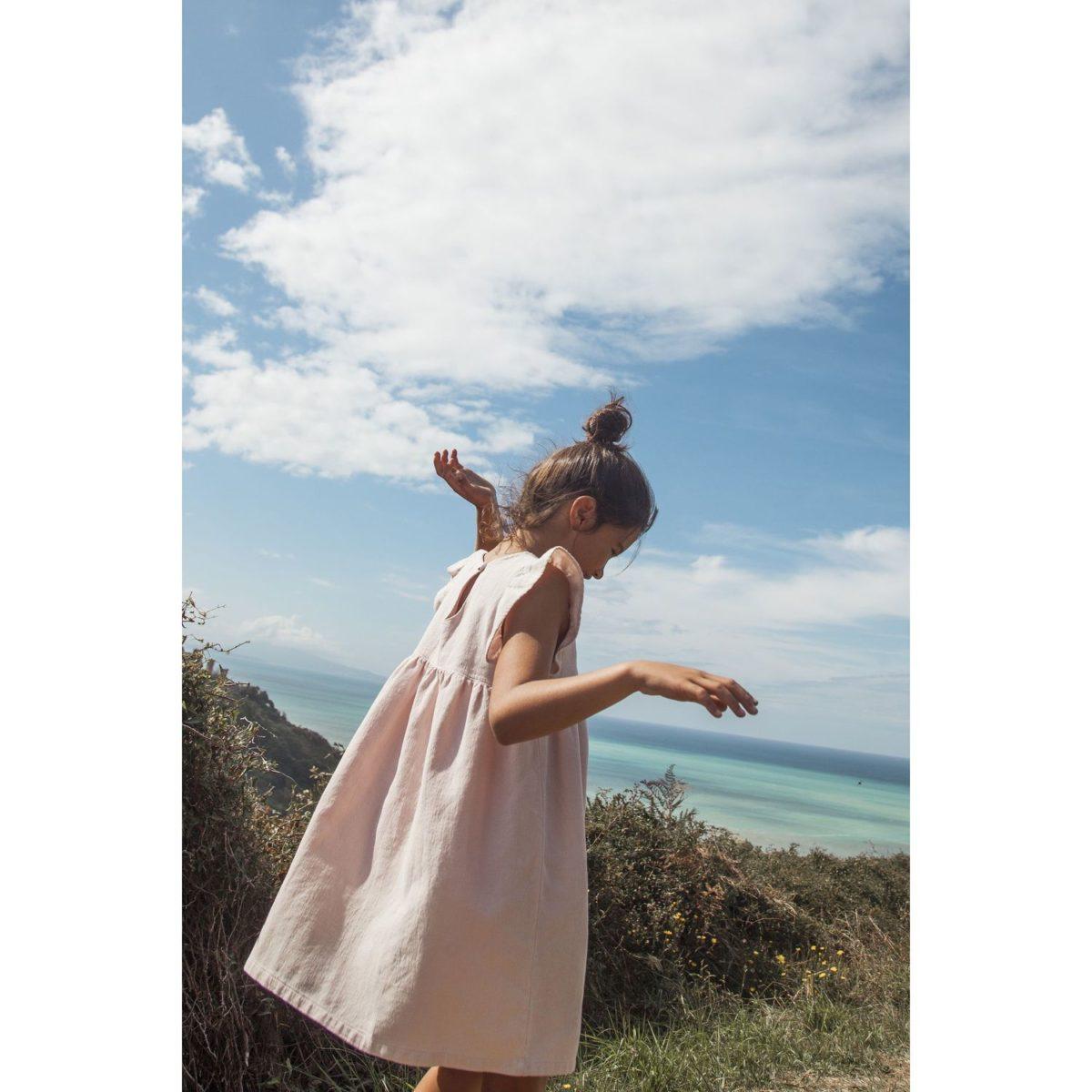 Kleid Shania, Puder, Bio Baumwolle