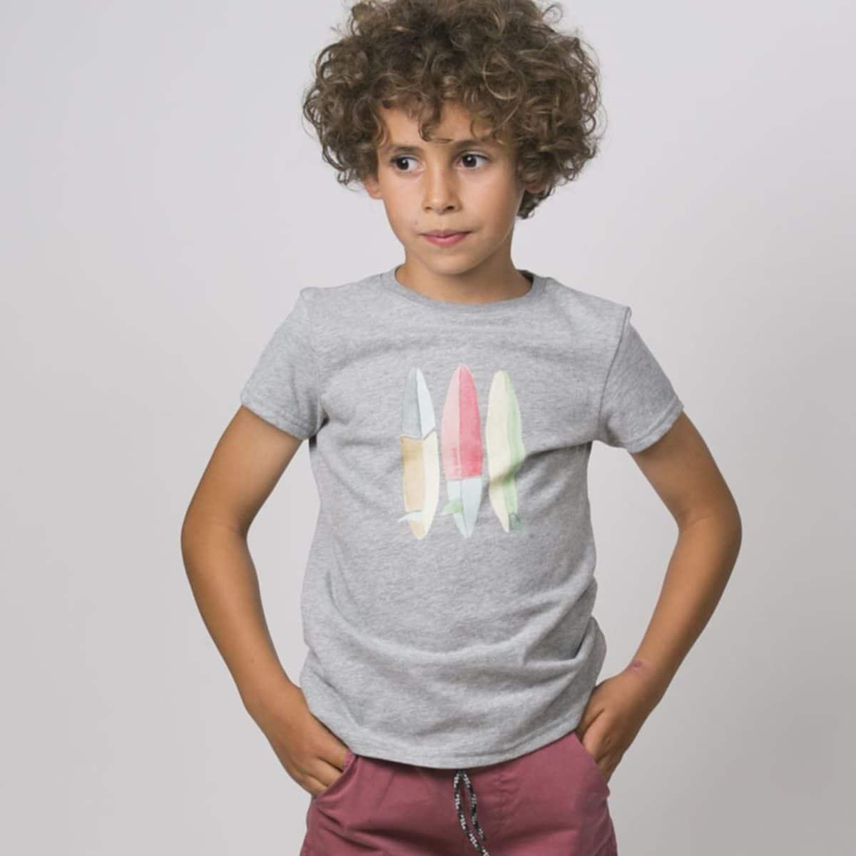 T-Shirt Scotty, Surfbretter, grau