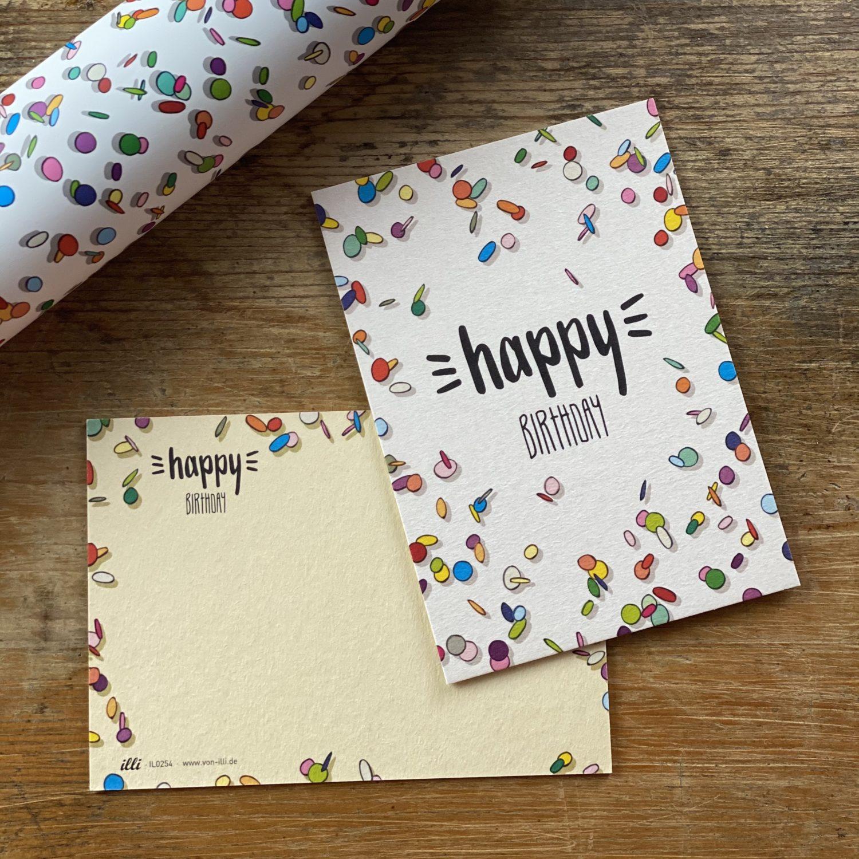 KYUTE Postkarte von illi Konfetti happy birthday